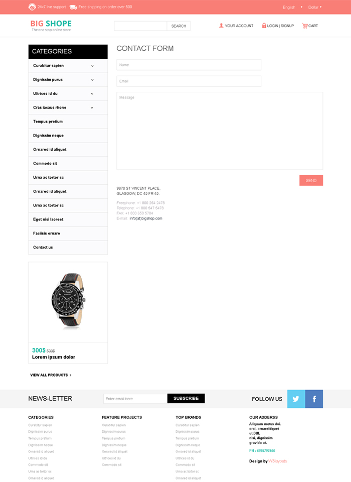 BigShope Responsive Template Contact