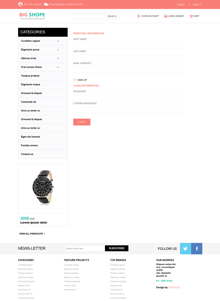 BigShope Responsive Template Register