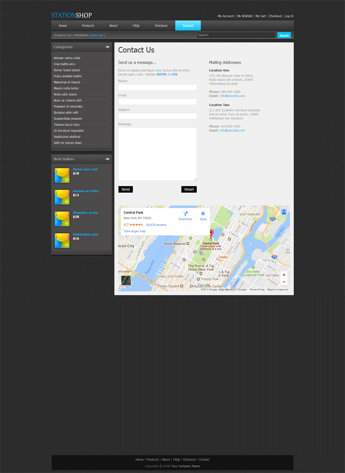 Station Shop Desktop Web Template Contact