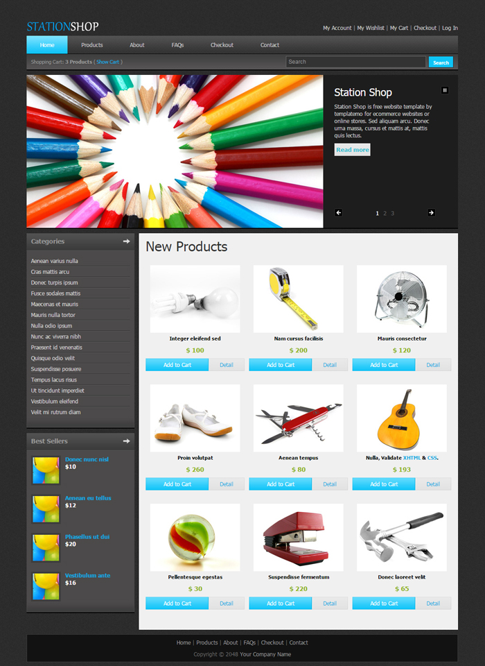 Station Shop Desktop Web Template Index