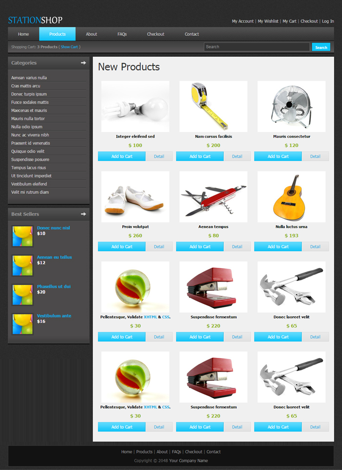 Station Shop Desktop Web Template Product