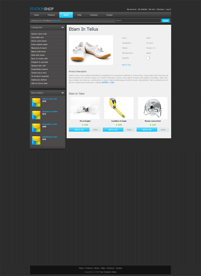 Station Shop Desktop Web Template Single;